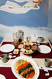 RUSSIA, Moscow. Table with food at Koryo, a North Korean restaurant in Moscow.