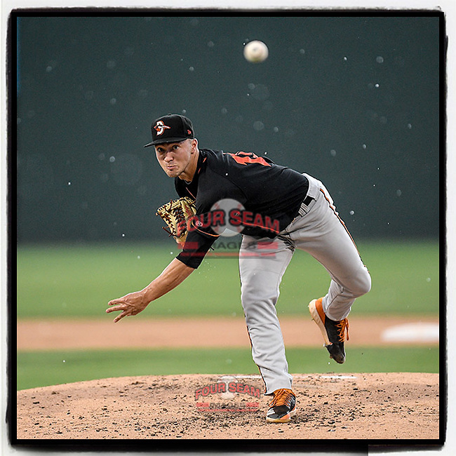 Baltimore Orioles' No. 15 prospect Drew Rom (19) of the Delmarva Shorebirds pitches as the rain begins in a game against the Greenville Drive on Friday, August 2, 2019, at Fluor Field at the West End in Greenville, South Carolina. The game was suspended in the second inning and will not be made up. (Tom Priddy/Four Seam Images) #MiLB