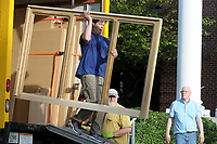 NWA Democrat-Gazette/DAVID GOTTSCHALK Jeff Hoover, with Buzard Pipe Organ Builders of Champaign, Il., moves Monday, October 8, 2018, a part to the east side of the swell division of a new pipe organ being installed in the sanctuary at Central United Methodist Church in Fayetteville.  The organ is a gift from an anonymous church member and is requiring more than a year, from concept to final installation, to be complete. Workers are constructing the instrument at their facility in Champaign, Ill., and bringing the parts down for installation. A performance is scheduled for October 28.