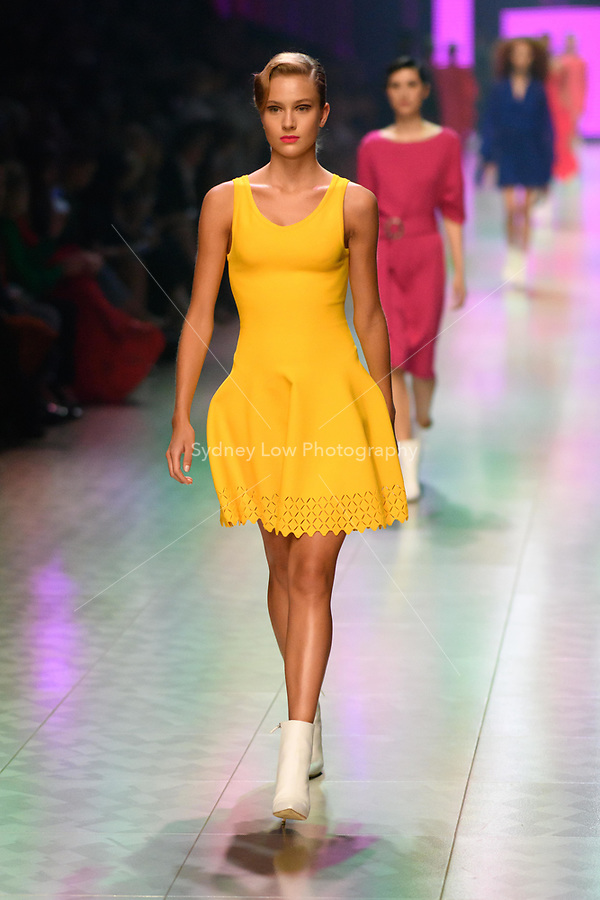 5 March 2018, Melbourne - Models showcase designs during the Gala Runway show at the 2018 Virgin Australia Melbourne Fashion Festival in Melbourne, Australia. (Photo Sydney Low / asteriskimages.com)