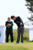 Shaun O'Conor (Luttrelstown Castle) on the 1st tee during Round 1 of the Irish Amateur Close Championship at Seapoint Golf Club on Saturday 7th June 2014.<br /> Picture:  Thos Caffrey / www.golffile.ie
