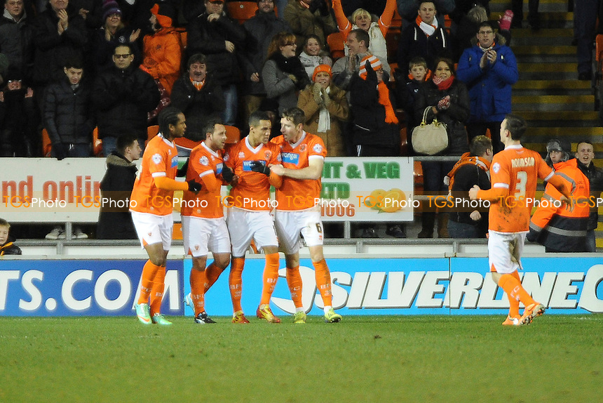 Thomas Ince (2nd right) of Blackpool celebrates the equaliser - Blackpool vs Leeds United - Sky Bet Championship Football at Bloomfield Road, Blackpool, Lancashire - 26/12/13 - MANDATORY CREDIT: Greig Bertram/TGSPHOTO - Self billing applies where appropriate - 0845 094 6026 - contact@tgsphoto.co.uk - NO UNPAID USE