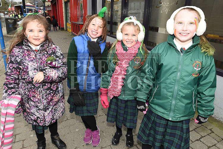 Georgia and Isla Dolan, Eliza Jane Levins and Taylor Coyle at the St. Patrick's day parade in Ardee. Photo:Colin Bell/pressphotos.ie