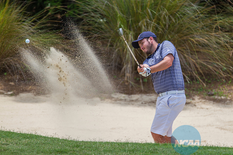 17 MAY 2013:  Joey Rippel, with the University of Texas at Tyler, hits out of the sand on hole 13 during the Division III Men's Golf Championship held at the Sandestin Golf and Beach Resort Raven Course in Destin, FL.  Mark Wallheiser/NCAA Photos