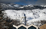 The snow-covered Capitol dome in Carson City, Nev., on Monday, Feb. 1, 2016. <br /> Photo by Cathleen Allison