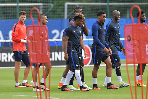 29.06.2016. Clairefontaine-en-Yvelines, France.  Kingsley Coman (C) and team mates of France are seen during a public football training session at their team base at Clairefontaine-en-Yvelines in France, 29 June 2016.