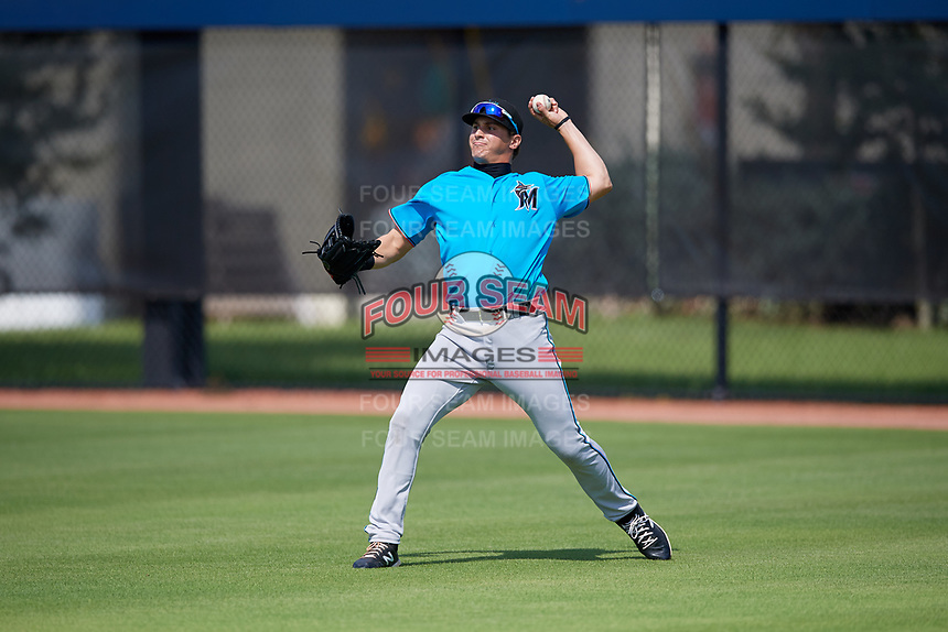 Miami Marlins right fielder JJ Bleday (21) during practice before an Instructional League game against the Washington Nationals on September 26, 2019 at FITTEAM Ballpark of The Palm Beaches in Palm Beach, Florida.  (Mike Janes/Four Seam Images)