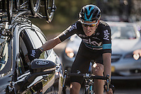 Luke Rowe (GBR/SKY) at the teamcar<br /> <br /> 12th Eneco Tour 2016 (UCI World Tour)<br /> Stage 6: Riemst › Lanaken (185km)