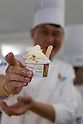 Seongdeok Park one of the gelato artisans chefs shows his gelato flavor ''Soy of Cheesecake'' during the Gelato World Tour on September 5, 2015, Tokyo, Japan. Over 3 days visitors to the Tokyo event can taste 16 flavours of gelato and will chose the top three flavours to represent the Far East Asia region at the Grand Finale of Gelato World Tour 2.0 to be held in Rimini, Italy in 2017. (Photo by Rodrigo Reyes Marin/AFLO)