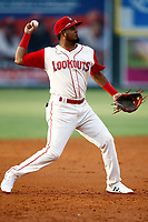 Chattanooga Lookouts third baseman Luis Arraez (1) throws to first base for an out during a game against the Pensacola Blue Wahoo on July 27, 2018 at AT&T Field in Chattanooga, Tennessee. (Andy Mitchell/Four Seam Images)