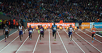 The 100m Heat 1 with Usain BOLT  (3rd left) of Jamaica (Men's 100m) on his way to a time of 9.87 during the Sainsburys Anniversary Games at the Olympic Park, London, England on 24 July 2015. Photo by Andy Rowland.