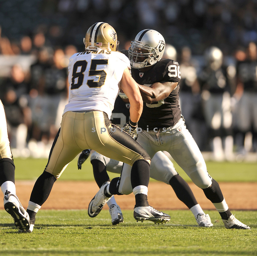 KAMERION WIMBLEY, of the Oakland Raiders, in action during the Raiders game against the New Orleans Saints on August 28, 2011 at O.co Coliseum in Oakland, CA. The Saints beat the Raiders 40-20.