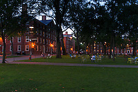 Harvard Yard lawns at night, Boston