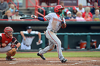 Harrisburg Senators outfielder Brian Goodwin #23 hits a double during a game against the Erie Seawolves on July 2, 2013 at Jerry Uht Park in Erie, Pennsylvania.  Erie defeated Harrisburg 2-1.  (Mike Janes/Four Seam Images)