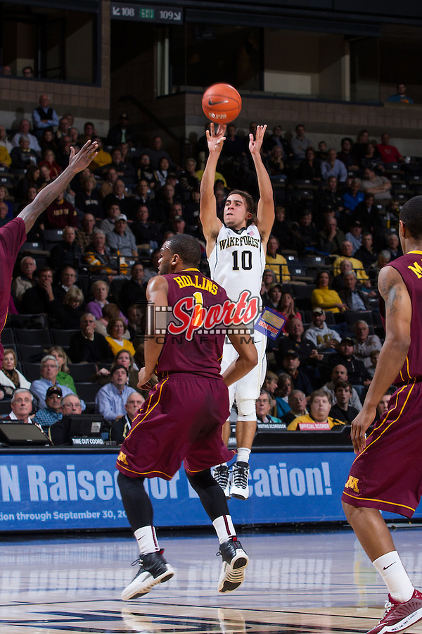 Mitchell Wilbekin (10) of the Wake Forest Demon Deacons attempts a jump shot during first half action against the Minnesota Golden Gophers at the LJVM Coliseum on December 2, 2014 in Winston-Salem, North Carolina.  The Golden Gophers defeated the Demon Deacons 84-69. (Brian Westerholt/Sports On Film)