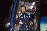 Paul Hayes of Wycombe Wanderers arrives ahead of the Sky Bet League 2 match between Colchester United and Wycombe Wanderers at the Weston Homes Community Stadium, Colchester, England on 21 February 2017. Photo by Andy Rowland / PRiME Media Images.
