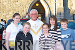 Michelle Daly, Norette Prendergast, Laura, Deirdre and Gary Prendergast Castleisland with Canon Denis O'Mahony at his retirement mass in St Stephens and Johns church Castleisland on Friday evening.   Copyright Kerry's Eye 2008