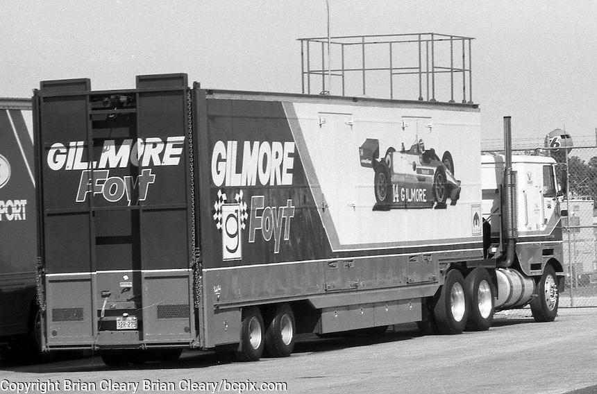 A. J. Foyt race car transporter hauler Daytona 500 at Daytona International Speedway in Daytona Beach, FL in February 1985. (Photo by Brian Cleary/www.bcpix.com) Daytona 500, Daytona International Speedway, Daytona Beach, FL, February 1985. (Photo by Brian Cleary/www.bcpix.com)