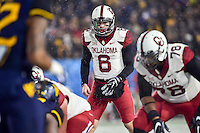 Morgantown, WV - NOV 19, 2016: Oklahoma Sooners quarterback Baker Mayfield (6) yells out an audible from the line during game between West Virginia and Oklahoma at Mountaineer Field at Milan Puskar Stadium Morgantown, West Virginia. (Photo by Phil Peters/Media Images International)
