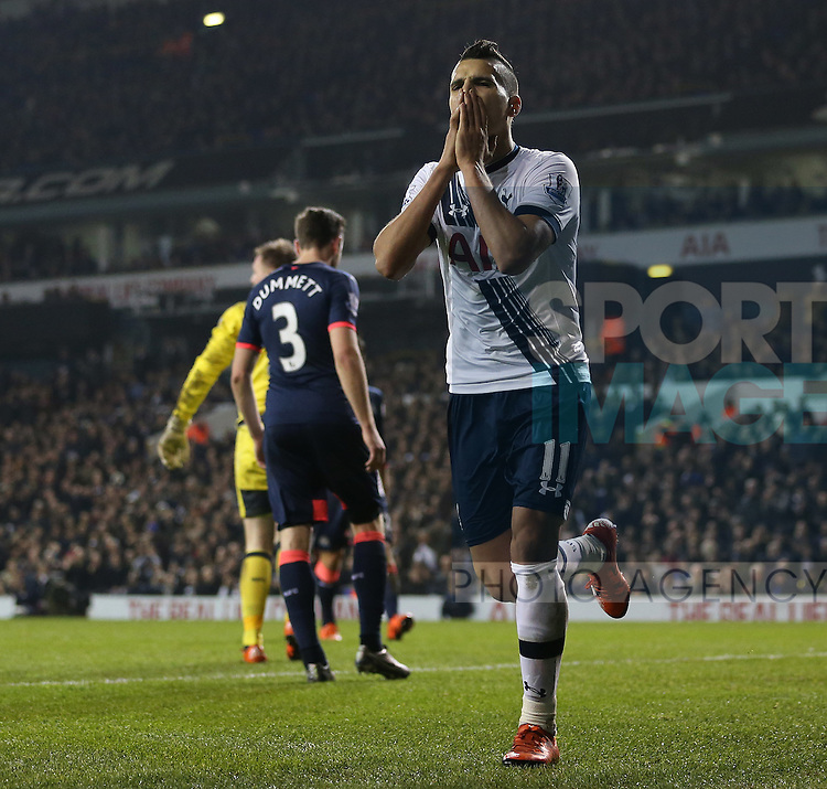 Tottenham's Erik Lamela looks on dejected after a missed chance<br /> <br /> Barclays Premier League- Tottenham Hotspur vs Newcastle United - White Hart Lane - England - 13th December 2015 - Picture David Klein/Sportimage