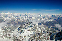 Karokoram mountains with K2 aerial view from an airplane, North Pakistan