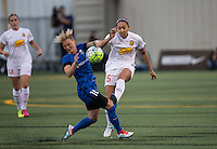 Seattle, WA - Saturday July 16, 2016: Jessica Fishlock, Jaelene Hinkle during a regular season National Women's Soccer League (NWSL) match between the Seattle Reign FC and the Western New York Flash at Memorial Stadium.
