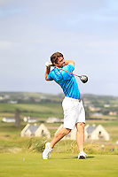 Darragh Coughlan (Portmarnock) on the 2nd tee during the Quarter Finals of The South of Ireland in Lahinch Golf Club on Tuesday 29th July 2014.<br /> Picture:  Thos Caffrey / www.golffile.ie