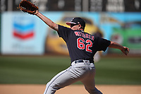 OAKLAND, CA - MAY 12:  Nick Wittgren #62 of the Cleveland Indians pitches against the Oakland Athletics during the game at the Oakland Coliseum on Sunday, May 12, 2019 in Oakland, California. (Photo by Brad Mangin)