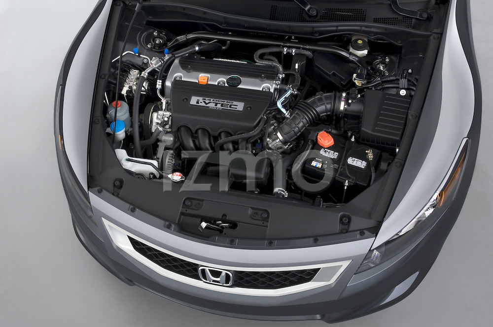 High angle engine view of a 2008 Honda Accord Coupe