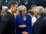 Belgium, Brussels - July 11, 2018 -- NATO summit, meeting of Heads of State / Government; here, Pedro SÁNCHEZ (Sanchez) (le), Prime Minister of Spain, Theresa MAY (ce), Prime Minister of the United Kingdom, Antonio COSTA (ri), Prime Minister of Portugal -- Photo © HorstWagner.eu
