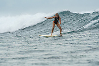 Namotu Island Resort, Nadi, Fiji (Wednesday, November 22 2017): Malou Duren. - The surf had dropped slightly today into the 2'- 3' range at Cloudbreak, Wilkes and Lefts. The wind started off as a very light SE Trade before dropping away to produce glassy conditions all day. There was a high cloudy cover and the threat of rain but nothing eventuated. Guest surfed Wilkes, Lefts, and Cloudbreak.<br /> Today was the funeral of the local chief who had died on November 8th. There was a huge attendance at the funeral as he was one of the most important chiefs in Fiji. Photo: joliphotos.com