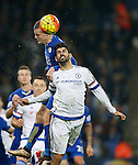 Jamie Vardy of Leicester City rises up above Diego Costa of Chelsea - English Premier League - Leicester City vs Chelsea - King Power Stadium - Leicester - England - 14th December 2015 - Picture Simon Bellis/Sportimage