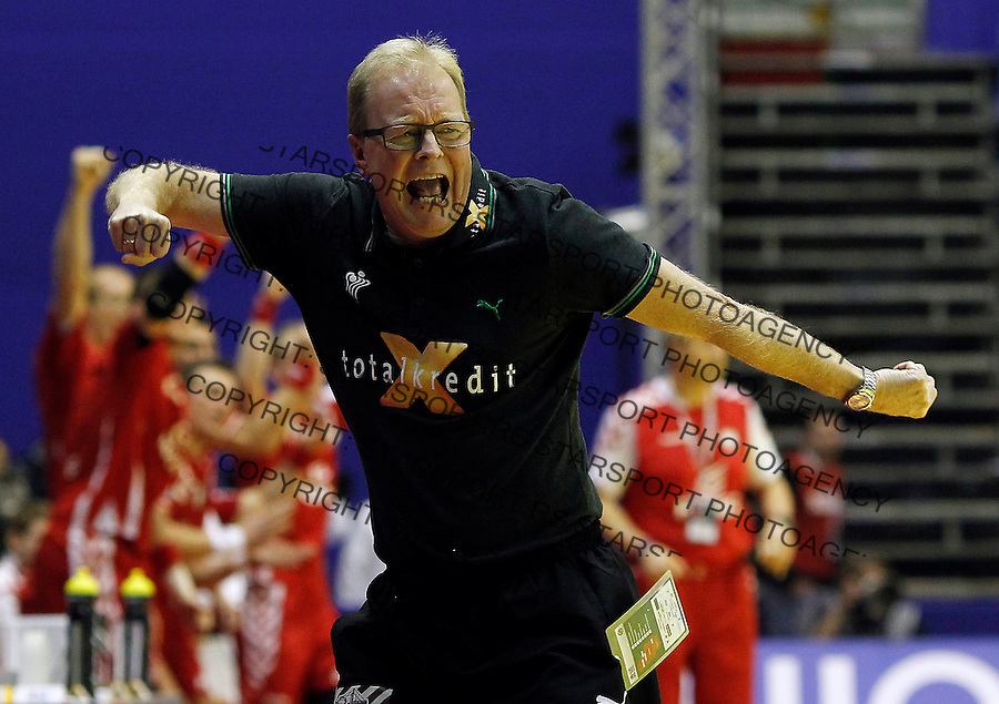 BELGRADE, SERBIA - JANUARY 19:  Denamrk head coach Ulrik Wilbek, react, during the Men's European Handball Championship 2012 group A match between Poland and Denmark at Pionir Hall on January 19, 2011 in Belgrade, Serbia. (Photo by Srdjan Stevanovic/Starsportphoto©)