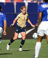 Christie Rampone eyes the ball. USA defeated Brazil 2-0 at Giants Stadium on Sunday, June 23, 2007.