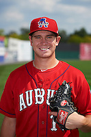 Auburn Doubledays pitcher Cody Gunter (10) poses for a photo before a game against the Batavia Muckdogs on September 7, 2015 at Falcon Park in Auburn, New York.  Auburn defeated Batavia 11-10 in ten innings.  (Mike Janes/Four Seam Images)