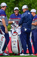 Phil Mickelson (USA) shares a laugh with Ryan Moore (USA), J.B. Holmes (USA), and Rickie Fowler (USA) during the practice round at the Ryder Cup, Hazeltine National Golf Club, Chaska, Minnesota, USA.  9/29/2016<br /> Picture: Golffile | Ken Murray<br /> <br /> <br /> All photo usage must carry mandatory copyright credit (&copy; Golffile | Ken Murray)
