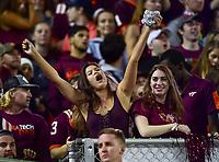 Blacksburg, VA - SEPT 30, 2017: Virginia Tech Hokies fans go crazy during game between Clemson and Virginia Tech at Lane Stadium/Worsham Field Blacksburg, VA. (Photo by Phil Peters/Media Images International)