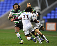 READING, ENGLAND : Marland Yarde of London Irish charges forward during the Amlin Challenge Cup match between London Irish and Bordeaux-Begles at Madejski Stadium on January 18, 2013 in Reading, England.