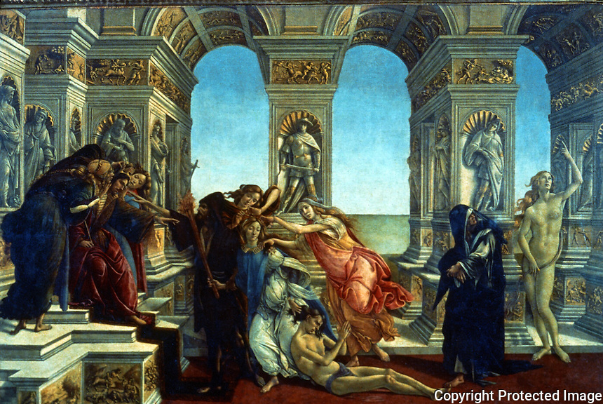 Renaissance Art:  Botticelli--The Slander of Apelles.  Galleria Uffizi.