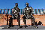 Notts County 0 Mansfield Town 0, 14/01/2017. Meadow Lane, League Two. The statue of Jimmy Sirrel and Jack Wheeler outside Meadow Lane. Photo by Paul Thompson.
