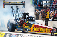 Jun 2, 2018; Joliet, IL, USA; NHRA top fuel driver Luigi Novelli during qualifying for the Route 66 Nationals at Route 66 Raceway. Mandatory Credit: Mark J. Rebilas-USA TODAY Sports