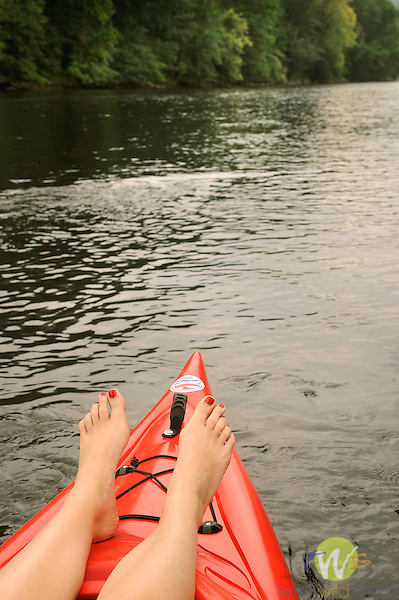 Bald Eagle Creek at Castanea. Feet on bow of kayak.