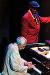 Cuban pianist Ruben Gonzalez plays his piano while Ibrahim Ferrer sings a song during a concert in the Mexico City's Hard Rock Cafe, on September 4, 1998. Gonzalez and Ferrer were part of the Buenavista Social Club wich grouped most of the famous traditional Cuban musicians like Compay Segundo, Omara Portuondo, between others. Photo by Heriberto Rodriguez