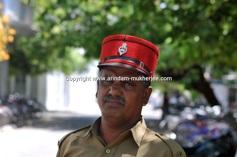 An Indian traffic police wearing a cap. These Caps are one of the French things still used in Pondicherry. Arindam Mukherjee/Sipa