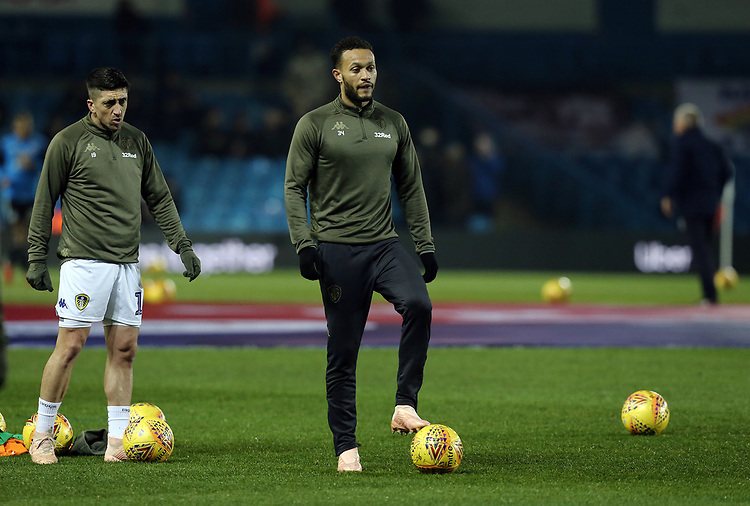 Leeds United's Pablo Hernandez (left) and Lewis Baker during the pre-match warm-up <br /> <br /> Photographer Rich Linley/CameraSport<br /> <br /> The EFL Sky Bet Championship - Leeds United v Reading - Tuesday 27th November 2018 - Elland Road - Leeds<br /> <br /> World Copyright © 2018 CameraSport. All rights reserved. 43 Linden Ave. Countesthorpe. Leicester. England. LE8 5PG - Tel: +44 (0) 116 277 4147 - admin@camerasport.com - www.camerasport.com