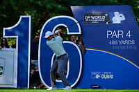 Rory McIlroy (NIR) on the 16th during the 1st round of the DP World Tour Championship, Jumeirah Golf Estates, Dubai, United Arab Emirates. 15/11/2018<br /> Picture: Golffile | Fran Caffrey<br /> <br /> <br /> All photo usage must carry mandatory copyright credit (&copy; Golffile | Fran Caffrey)