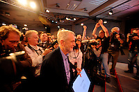 Labour Party Leadership Conference<br /> QE11 Centre, Westminster, London.Westminster<br /> Conference called to announce the results of the elections for position of Labour Party leader and deputy leader.<br /> <br /> Jeremy Corbyn, having been just announced as the new leader of the Labour party, prepares to take to the stage for his acceptance speech.
