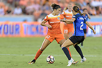 Houston, TX - Sunday August 13, 2017: Carli Lloyd, Shea Groom during a regular season National Women's Soccer League (NWSL) match between the Houston Dash and FC Kansas City at BBVA Compass Stadium.