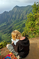 Kalalau Valley with artist drawing scene. Koke'e State Park. Waimea Canyon. Kauai, Hawaii
