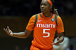 18 January 2015: Miami's Nigia Greene (5). The Duke University Blue Devils hosted the University of Miami Hurricanes at Cameron Indoor Stadium in Durham, North Carolina in a 2014-15 NCAA Division I Women's Basketball game. Duke won the game 68-53.